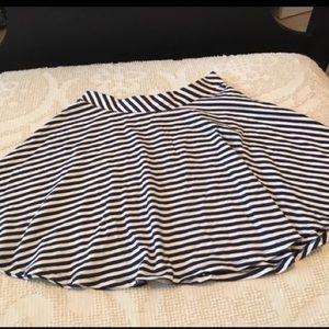 Dresses & Skirts - Navy blue & white stripe knit skater skirt